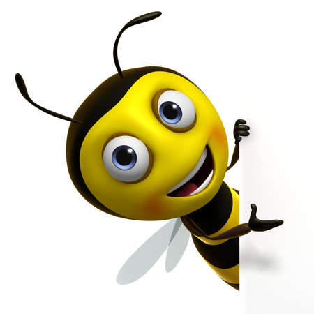 abeja caricatura: 3d lindo miel de abeja Foto de archivo