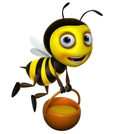miel de abeja: 3d lindo miel de abeja Foto de archivo