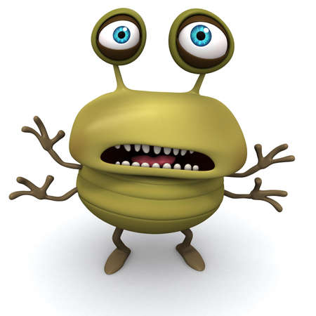 yellow teeth: 3d cartoon bug