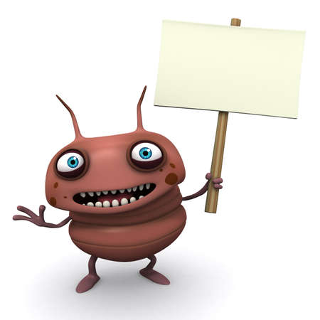 infected: 3d cartoon bug holding placard