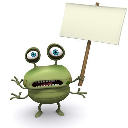 angry sad: 3d cartoon bug holding placard