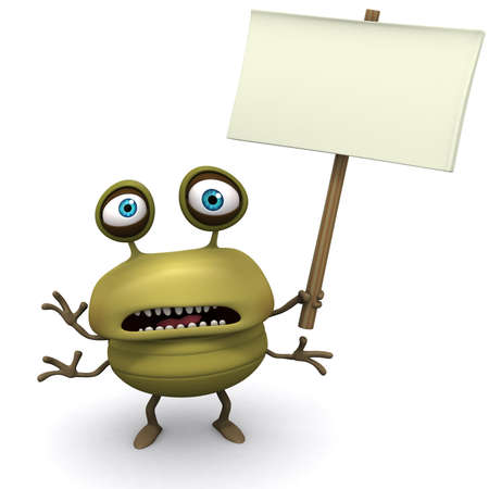 filth: 3d cartoon bug holding placard