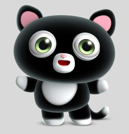 gato caricatura: lindo gato negro Foto de archivo