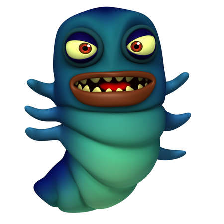 3d cute blue worm photo
