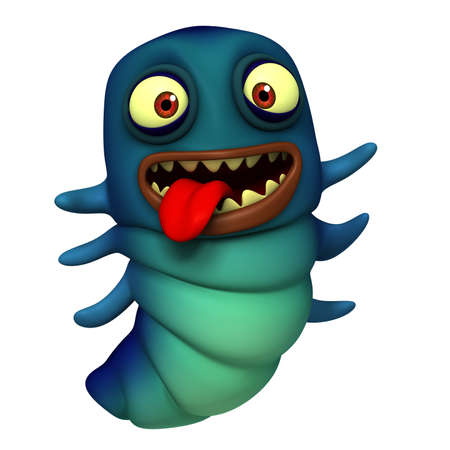 3d cute blue worm Stock Photo