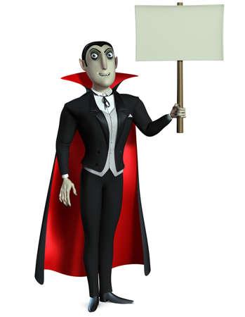 3d vampire: Count Dracula holding blank Stock Photo