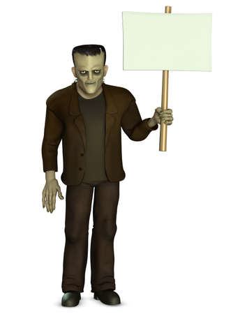 Frankenstein holding placard photo