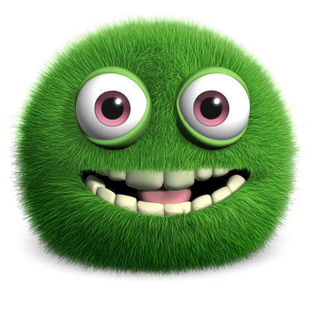 fuzzy: furry green monster