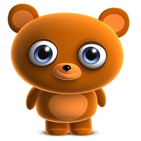 clumsy: 3d cartoon cute brown bear Stock Photo