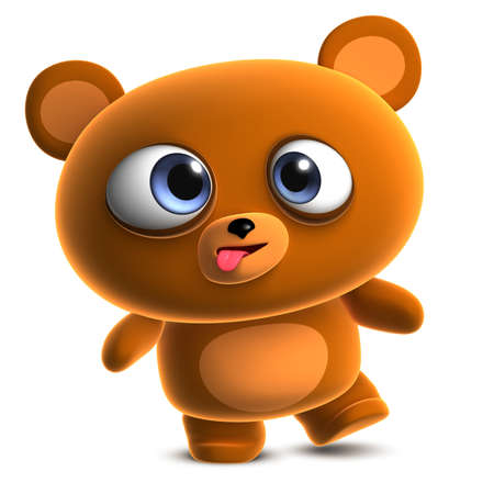 crazy cute: 3d cartoon cute brown bear Stock Photo