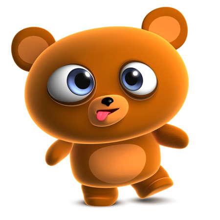 crazy cute: 3d cartoon cute brown bear Stock Photo