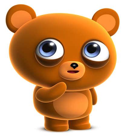 cute bear: 3d cartoon cute brown bear Stock Photo