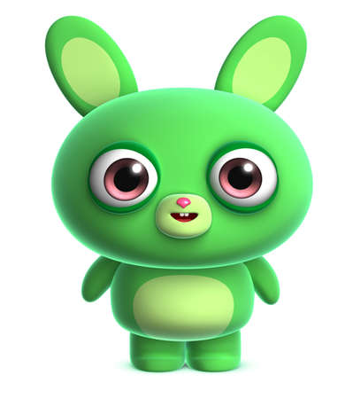 3d cartoon cute green bunny photo