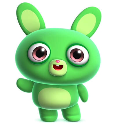 fluffy ears: 3d cartoon cute green bunny