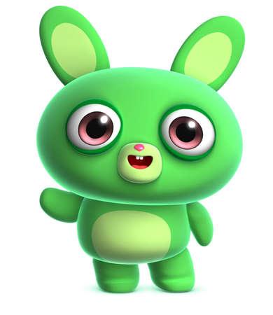 animal ear: 3d cartoon cute green bunny