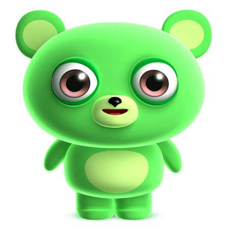 clumsy: 3d cute green bear