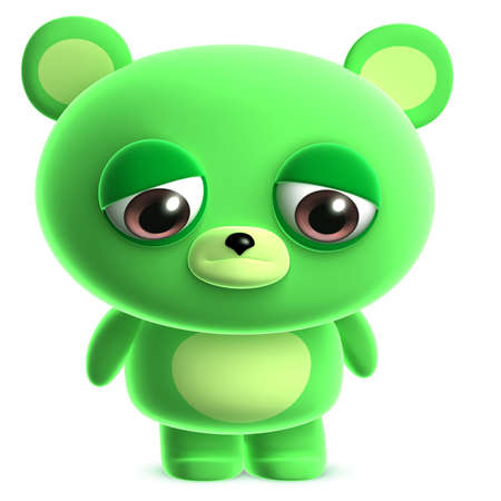 3d cute green bear photo