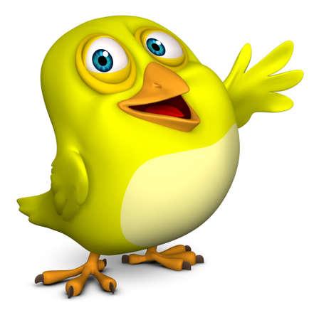 cartoon bird: 3d cartoon cute yellow bird