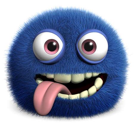 alien face: furry monster Stock Photo