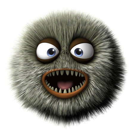 angry look: 3d cartoon furry monster