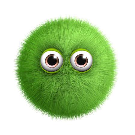 alien face: 3d cartoon furry monster