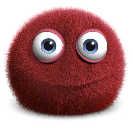 fluff: Dibujos animados 3d monstruo peludo Foto de archivo