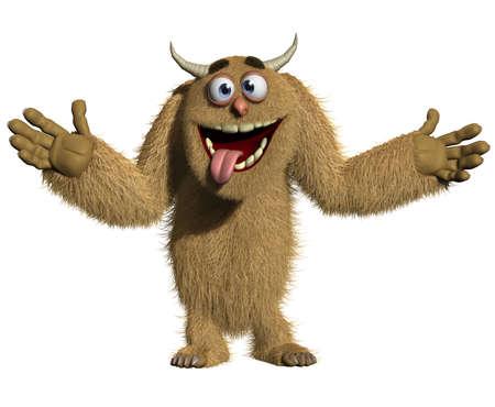 funny animals: 3d cartoon furry monster
