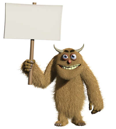 protest poster: 3d cartoon furry monster