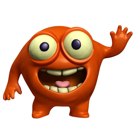 halloween eyeball: 3d cartoon red alien