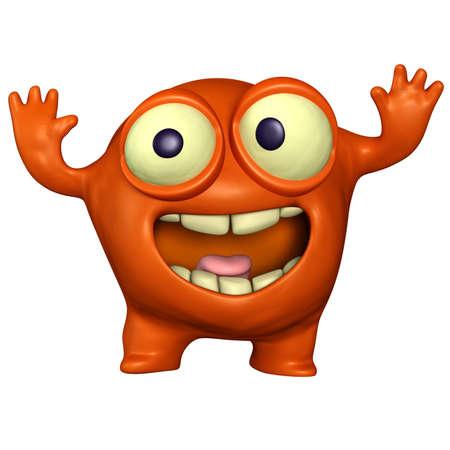 organisms: 3d cartoon red monster