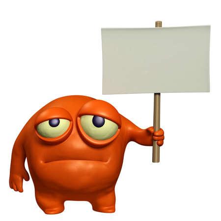 fear cartoon: sad monster holding placard