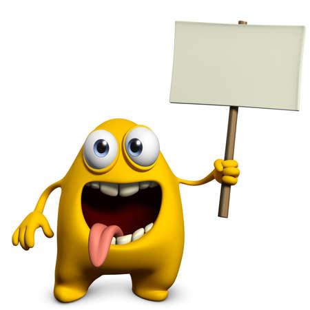 placard: 3d cartoon cute monster