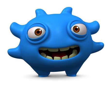 3d cartoon litle blue virus photo