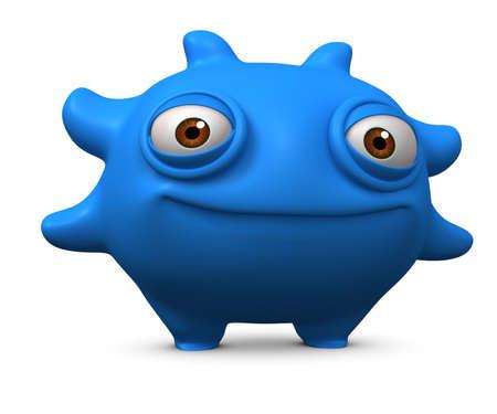 ugliness: 3d cartoon litle blue virus