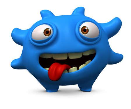 cartoon alien: 3d cartoon litle blue virus