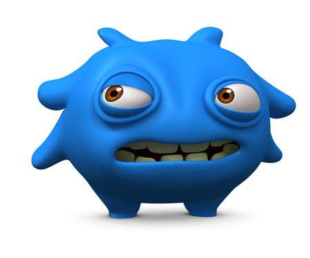 freak: 3d cartoon litle blue virus