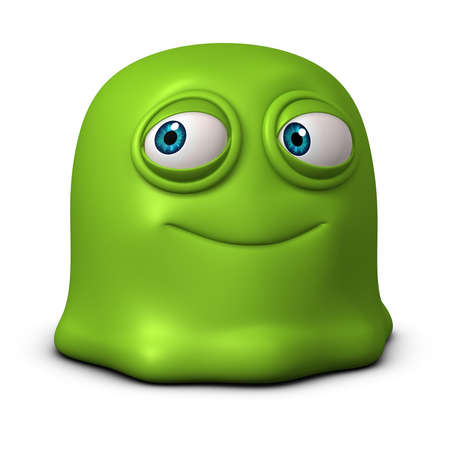 3d cartoon green jelly monster photo