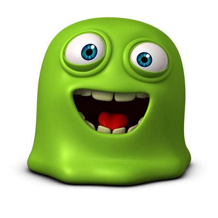 green cute: 3d cartoon green jelly monster