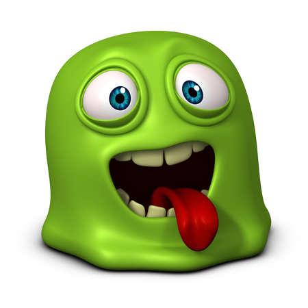 lesma: 3d cartoon gel�ia verde monstro Banco de Imagens