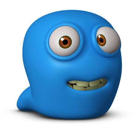 3d cartoon blue worm photo
