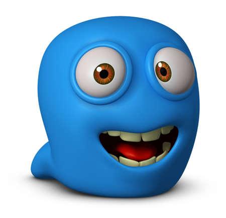 gusano caricatura: Dibujos animados 3d gusano azul