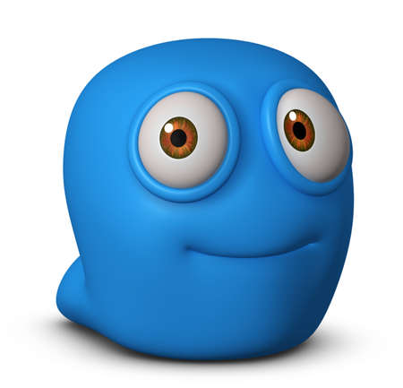 3d cartoon blue virus photo