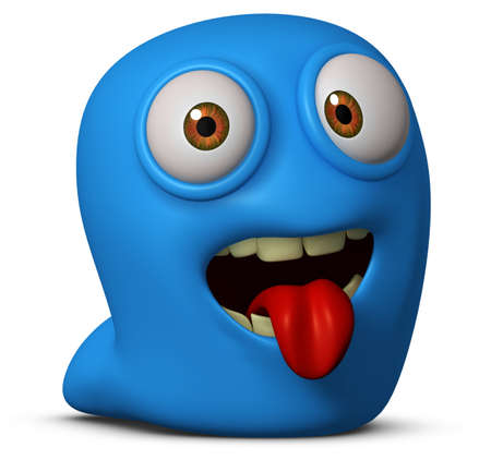 3d cartoon blue worm