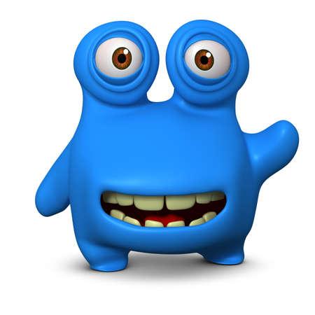 unicellular: 3d mostro cute cartoon