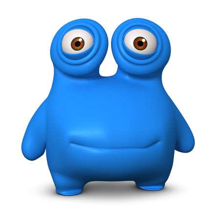 cartoon monster: 3d cartoon blue monster Stock Photo