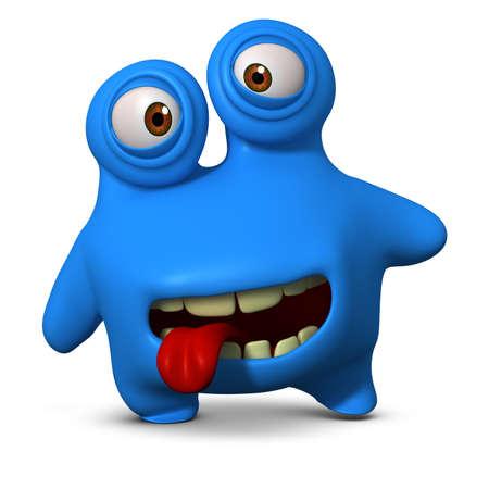 unicellular: 3d cartoon blue monster Stock Photo