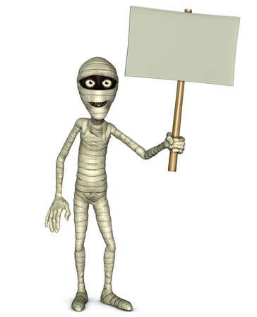 holding blank sign: 3d cartoon halloween mummy holding blank Stock Photo