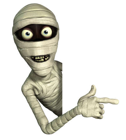 spooky eyes: 3d cartoon halloween mummy Stock Photo