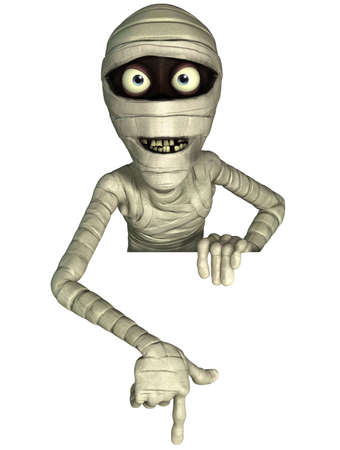 3d cartoon halloween mummy Stock Photo