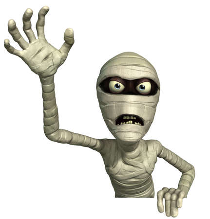halloween cartoon: 3d cartoon halloween mummy Stock Photo